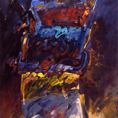 Faez, the victorious. Acrylic & Oil pinting on paper. 140x80 cm. Collection Jean Pierre Guillemont 1987