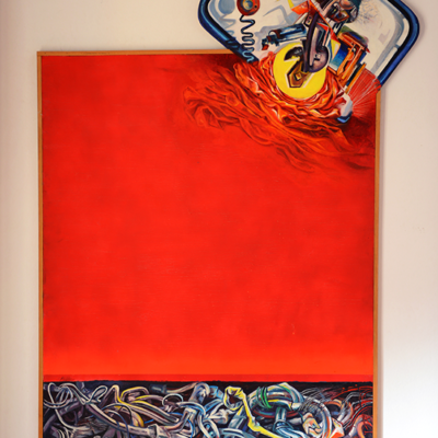 Industrial prophecy. Acrylic on Wood. 155x87 cm-  1980