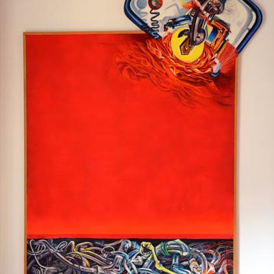 Industrial prophecy. Acrylic on Wood. 155x87 cm-  1980