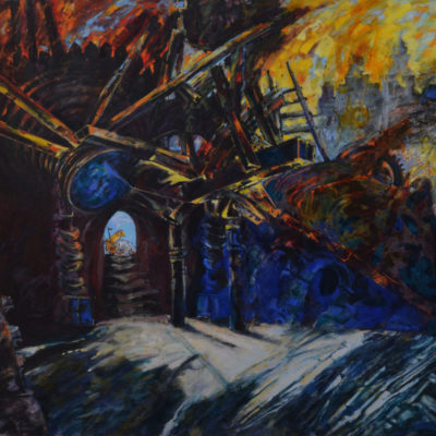 Jerusalem 2.Oil& Acrylic painting on canvas. 150x150 cm. Private collection.  1986