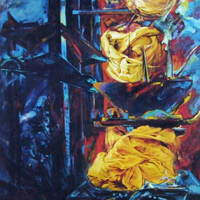 Jerusalem 4. Oil & Acrylic painting on canvas. 200x84 cm. Private collection.  1986