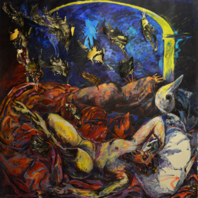 Night mare. Acrylic painting on canvas.  200x200 cm.  1986