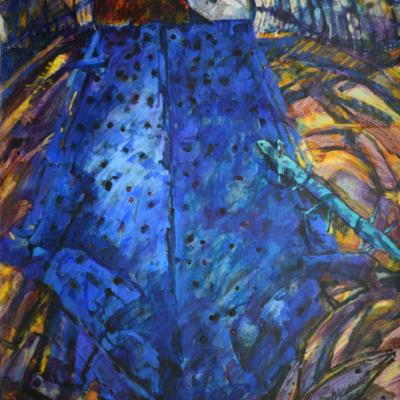 Nintey nine blue nails. Acrylic on paper  90x70 cm  1987