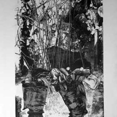 Seige, 340x120cm, print on textile, 2003