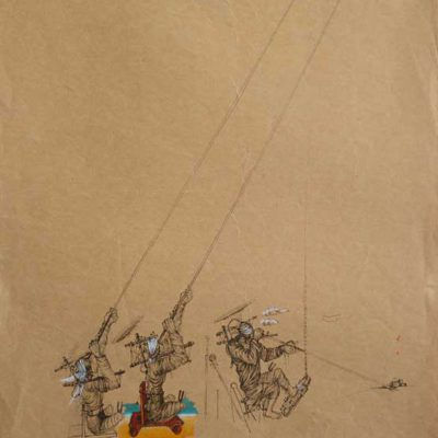 Glass blowers | Ink and water color on brown paper, 1977.