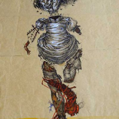 Escaping, 53x33 cm, Ink and water color on brown paper,1977
